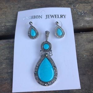 Western turquoise marquise silver pendant& earring